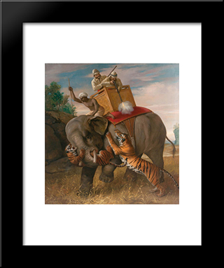Tigerjagd:  Modern Black Framed Art Print by Briton Riviere
