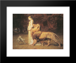 Una And Lion:  Modern Black Framed Art Print by Briton Riviere