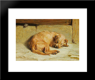 Watching Dog:  Modern Black Framed Art Print by Briton Riviere