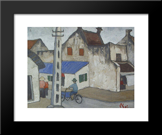 (Ancient Hanoi Street):  Modern Black Framed Art Print by Bui Xuan Phai