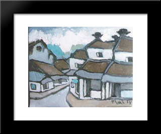 Hanoi:  Modern Black Framed Art Print by Bui Xuan Phai