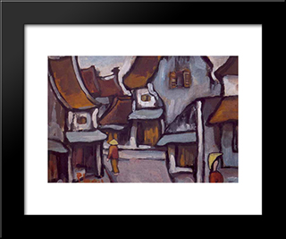 Hanoi Street, Nd:  Modern Black Framed Art Print by Bui Xuan Phai