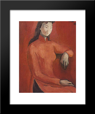 Portrait:  Modern Black Framed Art Print by Bui Xuan Phai