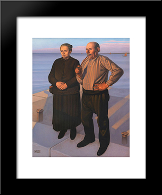 Fishermans:  Modern Black Framed Art Print by Cagnaccio di San Pietro