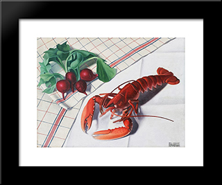 Still-Life With Lobster And Radishes:  Modern Black Framed Art Print by Cagnaccio di San Pietro