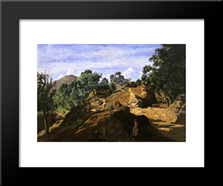 A Chestnut Wood Among The Rocks:  Modern Black Framed Art Print by Camille Corot
