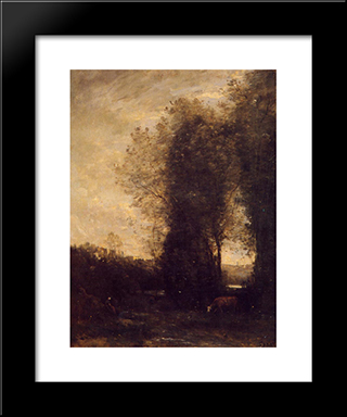 A Cow And Its Keeper:  Modern Black Framed Art Print by Camille Corot