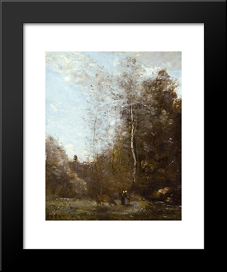 A Cow Grazing Beneath A Birch Tree:  Modern Black Framed Art Print by Camille Corot