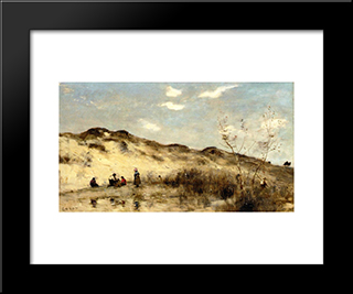 A Dune At Dunkirk:  Modern Black Framed Art Print by Camille Corot
