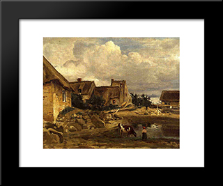 A Farmyard Near Fontainebleau:  Modern Black Framed Art Print by Camille Corot