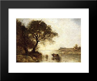 A Ford With Large Trees:  Modern Black Framed Art Print by Camille Corot