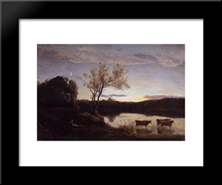 A Pond With Three Cows And A Crescent Moon:  Modern Black Framed Art Print by Camille Corot