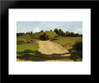 A Rising Path:  Modern Black Framed Art Print by Camille Corot