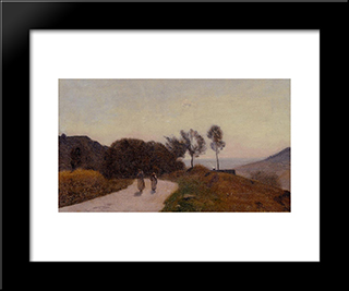 A Road In The Countryside, Near Lake Leman:  Modern Black Framed Art Print by Camille Corot
