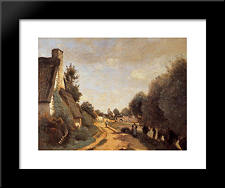 A Road Near Arras (Cottages):  Modern Black Framed Art Print by Camille Corot