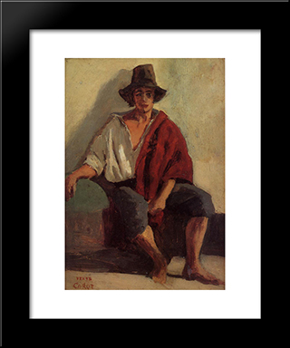 A Seated Italian From Paeigno Facing Front:  Modern Black Framed Art Print by Camille Corot