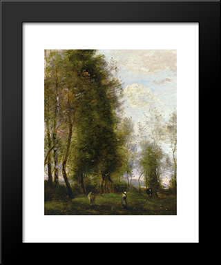 A Shady Resting Place:  Modern Black Framed Art Print by Camille Corot
