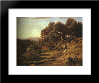 A View Near Colterra:  Modern Black Framed Art Print by Camille Corot