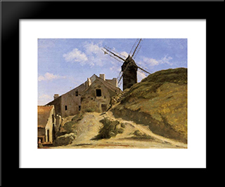 A Windmill At Montmartre:  Modern Black Framed Art Print by Camille Corot