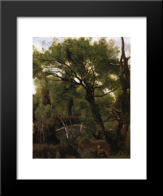 An Artist Painting In The Forest Of Fountainebleau:  Modern Black Framed Art Print by Camille Corot