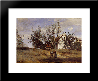 An Orchard At Harvest Time:  Modern Black Framed Art Print by Camille Corot