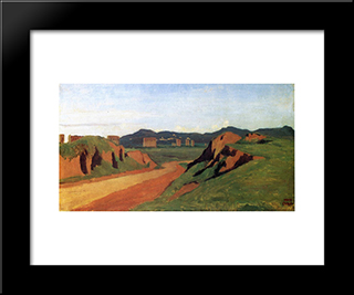 Aqueducts In The Roman Campagna:  Modern Black Framed Art Print by Camille Corot