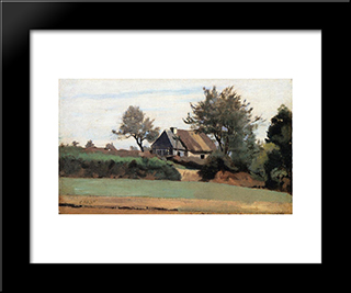 Archicourt, Near Arras:  Modern Black Framed Art Print by Camille Corot