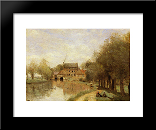 Arleux Du Nord, The Drocourt Mill, On The Sensee:  Modern Black Framed Art Print by Camille Corot