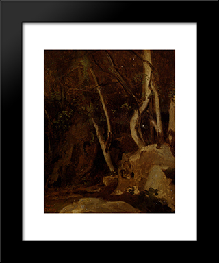 At Civita Castellana, Wooded Rocks:  Modern Black Framed Art Print by Camille Corot