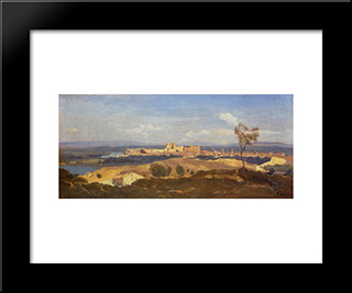 Avignon Seen From Villenueve Les Avignon:  Modern Black Framed Art Print by Camille Corot