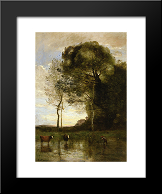 Banks Of A Pond In Normandy:  Modern Black Framed Art Print by Camille Corot