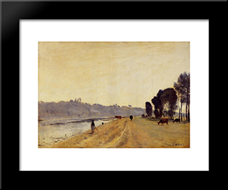 Banks Of A River:  Modern Black Framed Art Print by Camille Corot
