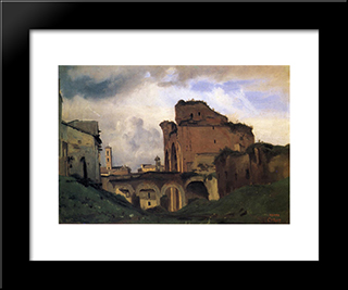 Basilica Of Constantine:  Modern Black Framed Art Print by Camille Corot