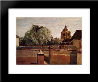 Bell Tower Of The Church Of Saint Paterne At Orleans:  Modern Black Framed Art Print by Camille Corot