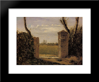 Boid Guillaumi, Near Rouen A Gate Flanked By Two Posts:  Modern Black Framed Art Print by Camille Corot