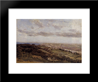 Bologne Sur Mer, View From The High Cliffs:  Modern Black Framed Art Print by Camille Corot