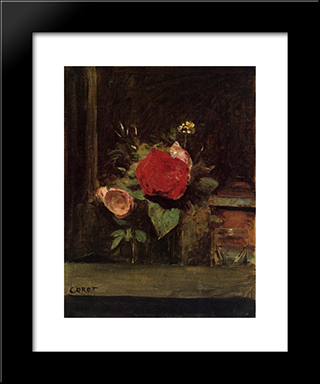 Bouquet Of Flowers In A Glass Beside A Tobacco Pot:  Modern Black Framed Art Print by Camille Corot