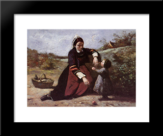 Breton Woman And Her Little Girl:  Modern Black Framed Art Print by Camille Corot