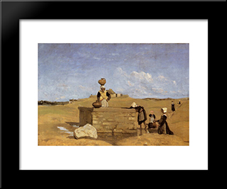 Breton Women At The Well Near Batz:  Modern Black Framed Art Print by Camille Corot