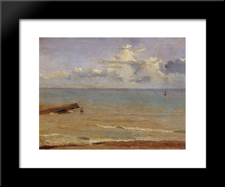 Dieppe End Of A Pier And The Sea:  Modern Black Framed Art Print by Camille Corot