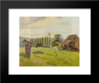 Brickworks At Eragny: Modern Black Framed Art Print by Camille Pissarro