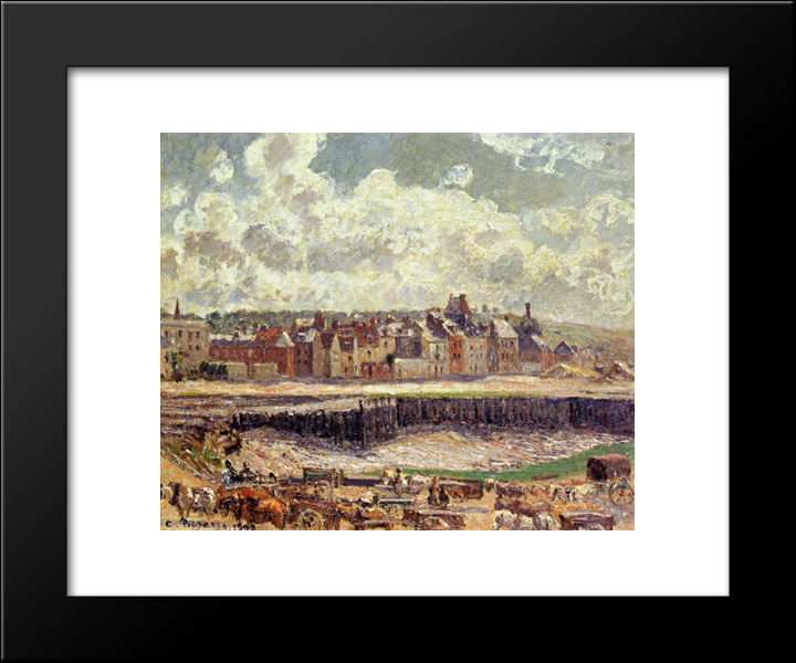 Dieppe, Dunquesne Basin, Sunlight Effect, Morning, Low Tide: Modern Black Framed Art Print by Camille Pissarro