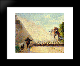 Flock Of Sheep: Modern Black Framed Art Print by Camille Pissarro