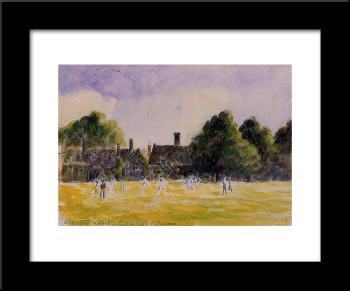 Hampton Court Green: Modern Black Framed Art Print by Camille Pissarro