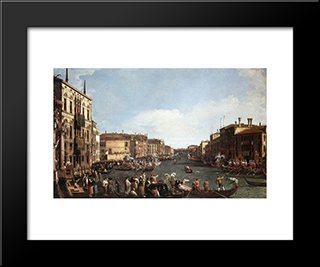 A Regatta On The Grand Canal: Modern Black Framed Art Print by Canaletto