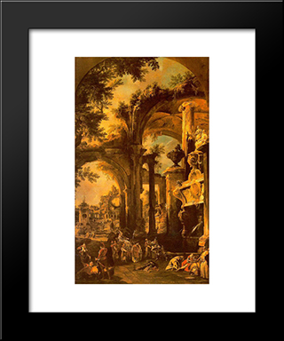 An Allegorical Painting Of The Tomb Of Lord Somers: Modern Black Framed Art Print by Canaletto