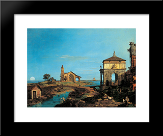 An Island In The Lagoon With A Gateway And A Church: Modern Black Framed Art Print by Canaletto