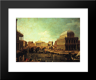 Basilica Di Vecenza And The Ponte De Rialto: Modern Black Framed Art Print by Canaletto