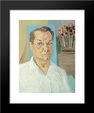 Auto - Retrato: Modern Black Framed Art Print by Candido Portinari