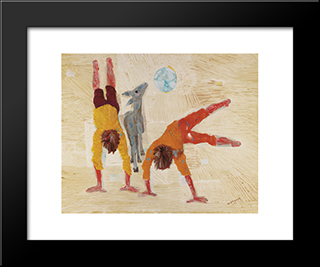 Boys Playing: Modern Black Framed Art Print by Candido Portinari